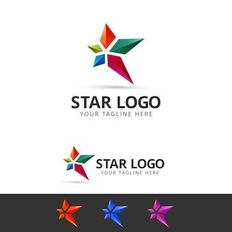 Modèle de conception de logo étoile 3d