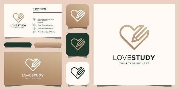 Modèle de conception de logo d'étude d'amour. crayon combiné avec le style d'art de ligne de coeur.