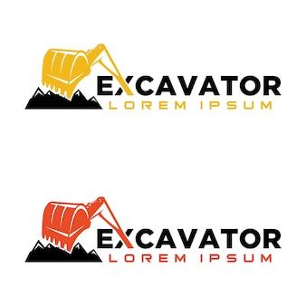 Modèle de conception de logo d'excavatrice
