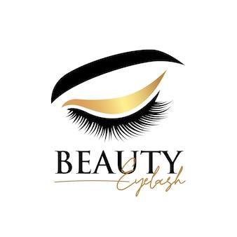 Modèle de conception de logo d'extension de cils de beauté