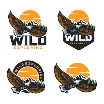 Modèle de conception de logo extérieur explorant sauvage