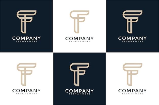 Modèle de conception de logo f initiales monogramme créatif