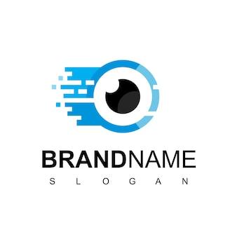 Modèle de conception de logo fast pixel eye, symbole cyber secure