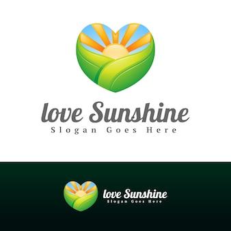 Modèle de conception de logo de ferme amour coeur et soleil vert