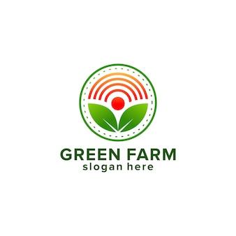 Modèle de conception de logo de ferme. graine, laisser, soleil, grandir