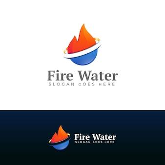 Modèle de conception de logo feu et eau