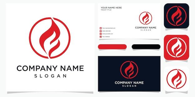 Modèle de conception de logo feu et flamme
