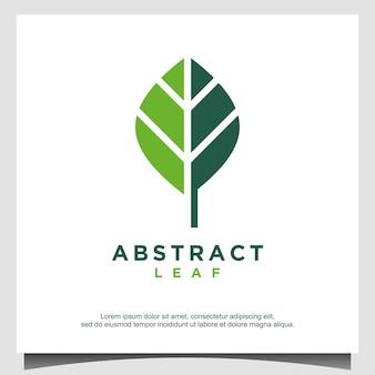 Modèle de conception de logo de feuille abstraite
