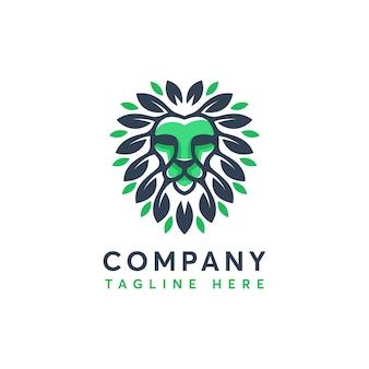 Modèle de conception de logo feuille nature moderne lion