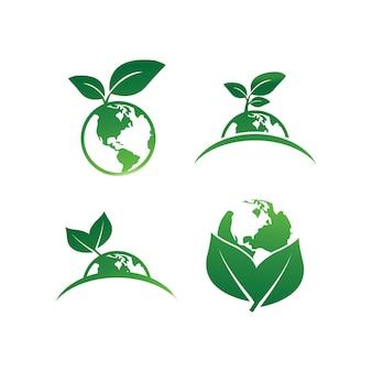 Modèle de conception de logo de feuille de terre
