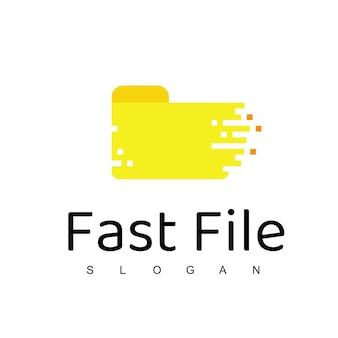 Modèle de conception de logo de fichier rapide hébergement, serveur, icône de voyageur de données