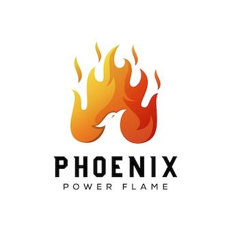 Modèle de conception de logo de flamme d'énergie phoenix