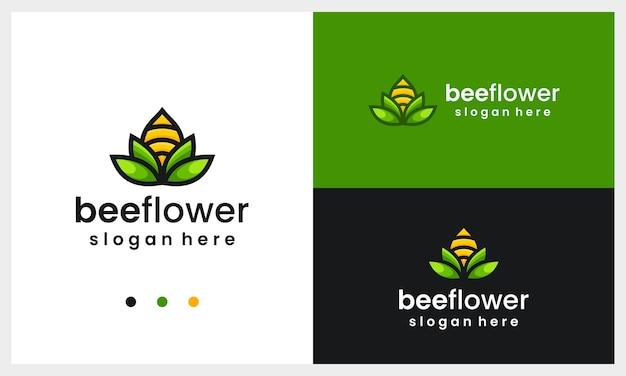 Modèle de conception de logo fleur abstraite avec concept d'abeille