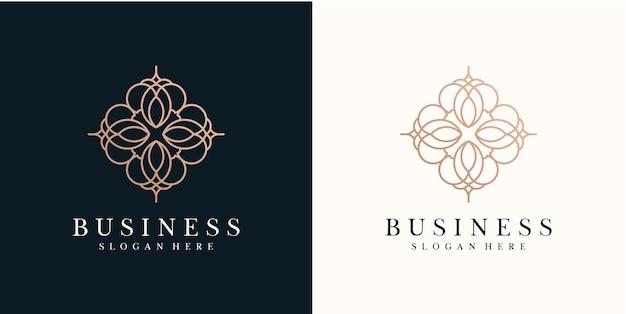 Modèle de conception de logo de fleur abstraite