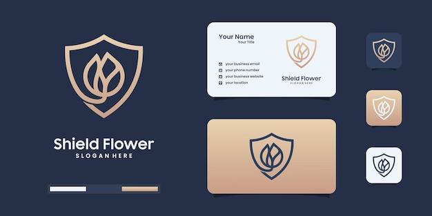Modèle de conception de logo de fleur de bouclier minimaliste. logo pour votre identité de marque.