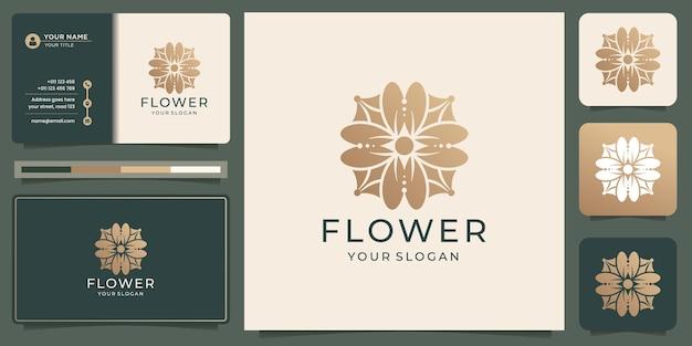 Modèle de conception de logo de fleur de luxe avec carte de visite. couleur or, floral, abstrait, logo de beauté.