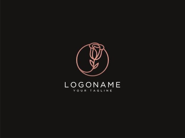 Modèle de conception de logo de fleur rose de luxe