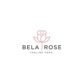 Modèle de conception de logo de fleur rose rose