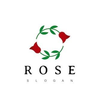 Modèle de conception de logo de fleur rose