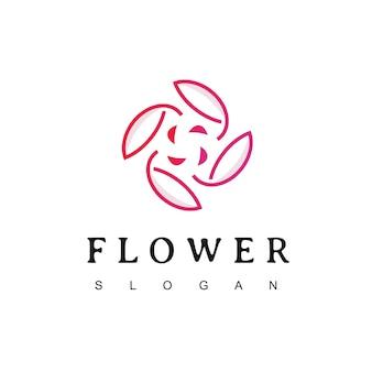 Modèle de conception de logo de fleur de sakura cercle