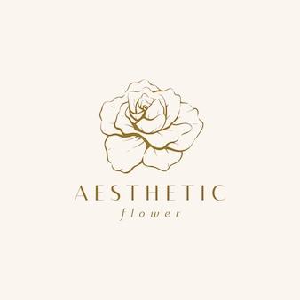 Modèle de conception de logo fleur vintage dessiné à la main