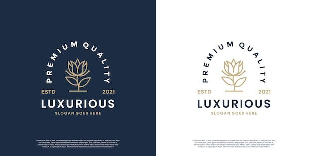 Modèle de conception de logo de fleuriste style vintage