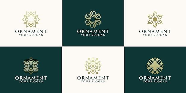 Modèle de conception de logo floral abstrait