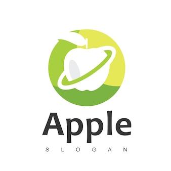 Modèle de conception de logo de fruits pomme