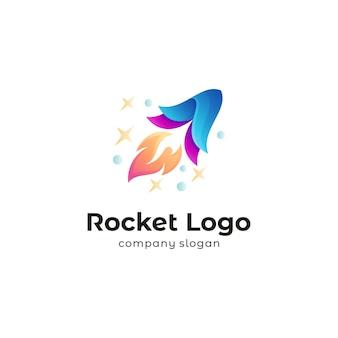 Modèle de conception de logo de fusée galaxy