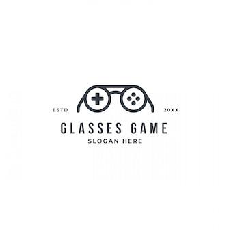 Modèle de conception de logo de geek de jeu avec des lunettes et un bouton de la manette de jeu.