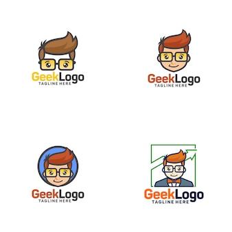 Modèle de conception de logo geek vecteur