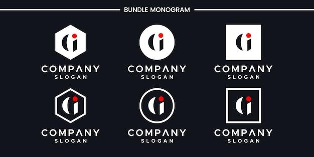 Modèle de conception de logo gi initiales.