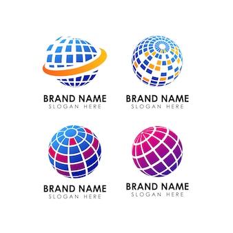 Modèle de conception de logo de globe géométrique