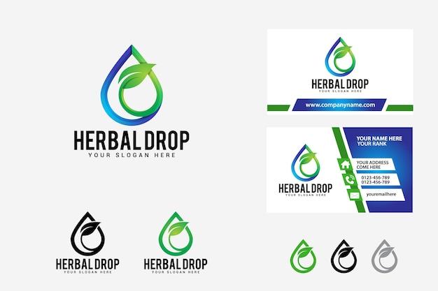 Modèle de conception de logo de goutte à base de plantes