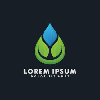 Modèle de conception de logo goutte d'eau eco leaf