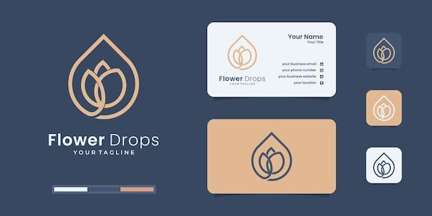 Modèle de conception de logo de gouttes de fleurs créatives. logo sain pour votre marque.