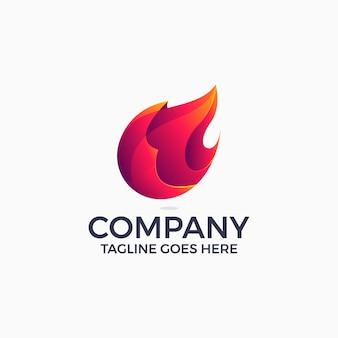 Modèle de conception de logo de gradient de flammes de feu