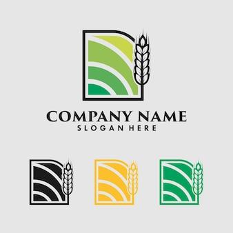 Modèle de conception de logo de grain de blé