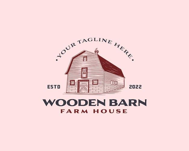 Modèle de conception de logo de grange en bois classique