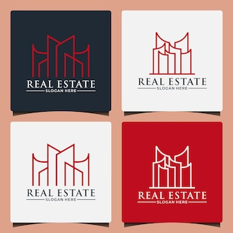 Modèle de conception de logo de gratte-ciel immobilier