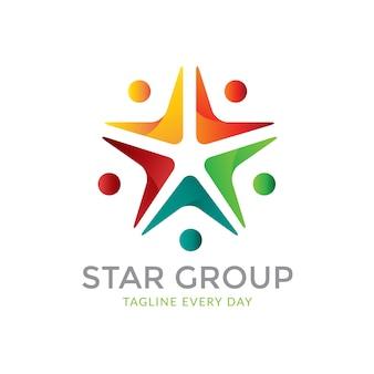 Modèle de conception de logo de groupe d'étoiles