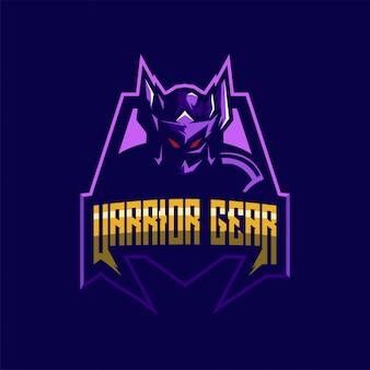 Modèle de conception de logo guerrier génial