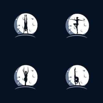 Modèle de conception de logo de gymnastique sur la lune