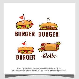 Modèle de conception de logo de hamburger