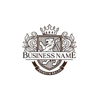 Modèle de conception de logo héraldique lions de luxe