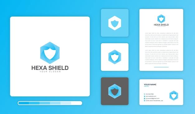 Modèle de conception de logo hexa shield