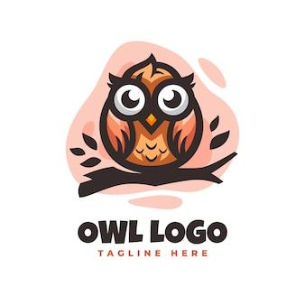 Modèle de conception de logo de hibou avec des détails mignons