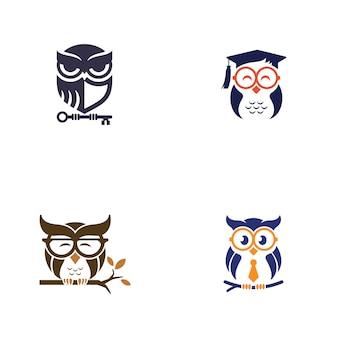Modèle de conception de logo hibou