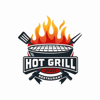Modèle de conception de logo hot grill