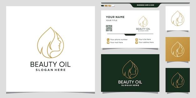 Modèle de conception de logo d'huile de beauté avec visage de femme et conception d'huile d'olive et de carte de visite
